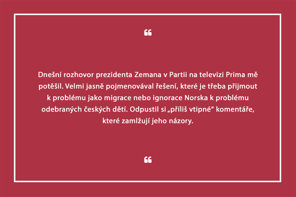 Prezident Miloš Zeman v Partii na TV Prima