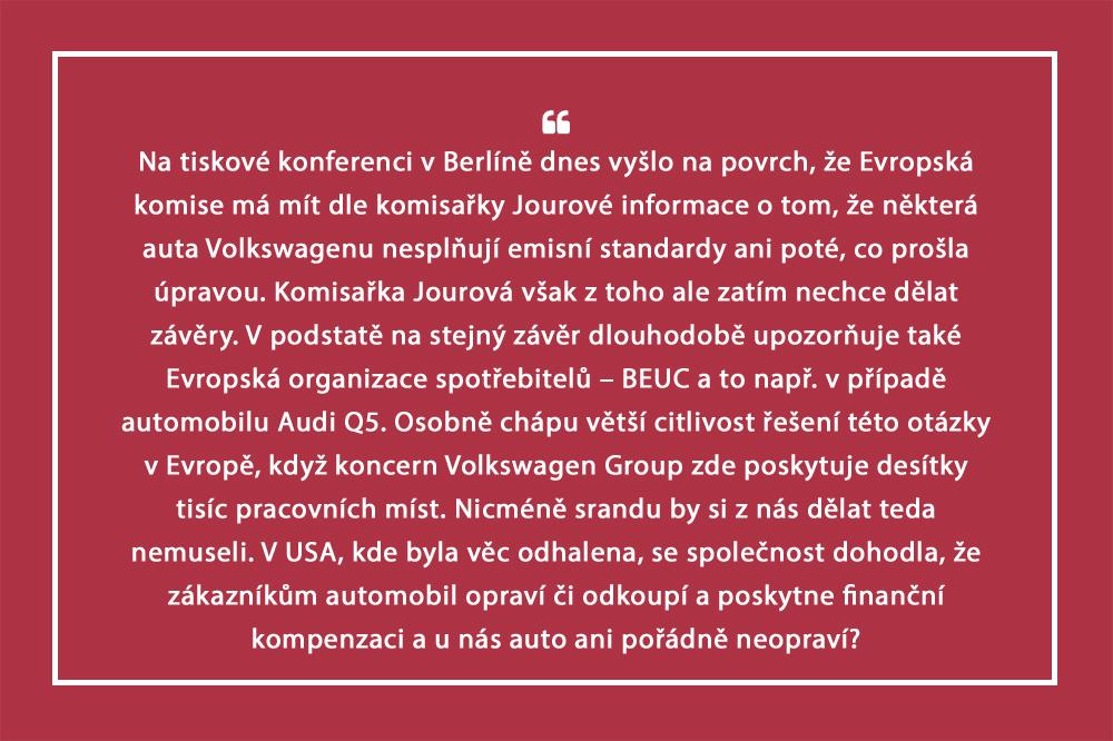 iDNES Některá opravená auta VW nadále porušují emisní normy, tvrdí Jourová