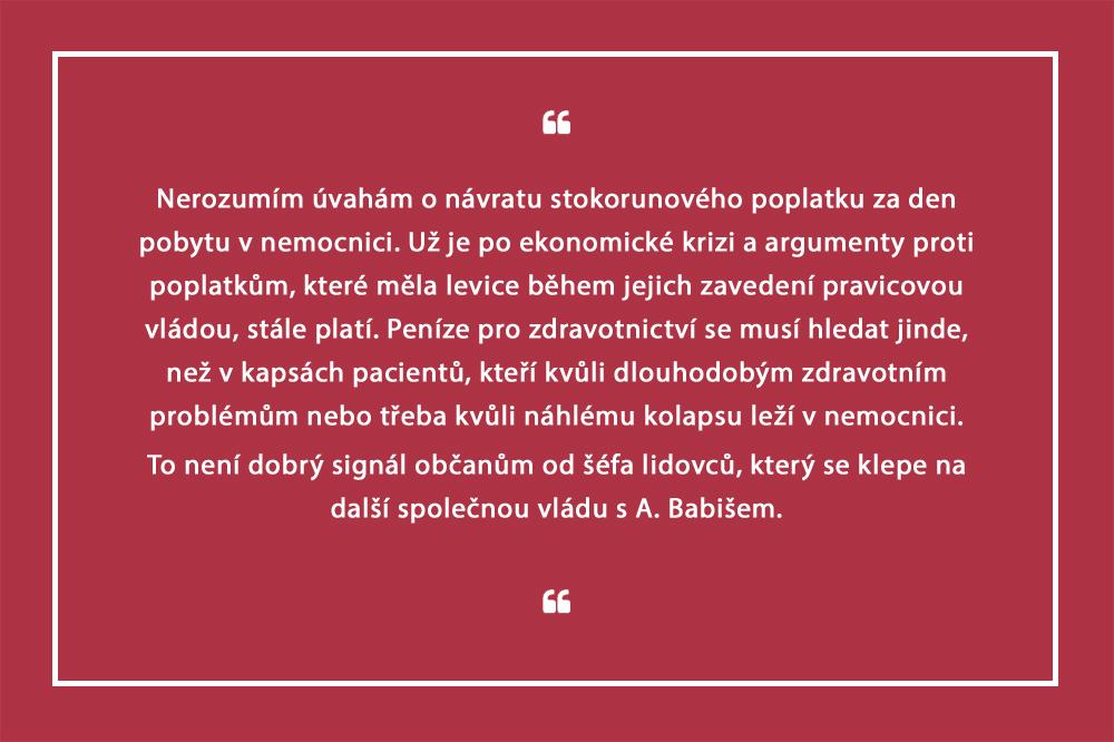 Bělobrádek: Zvažme návrat poplatků za nemocniční lůžko