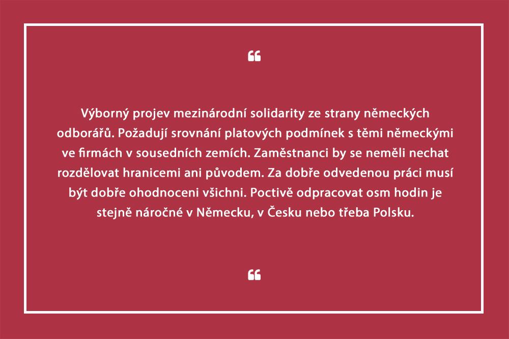Ať Češi berou stejně jako my, žádají němečtí odboráři. Koncerny budou pod větším tlakem na růst mezd