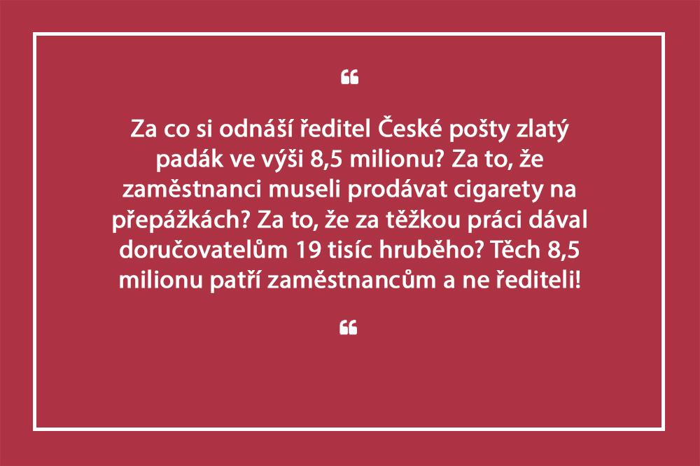 Zlatý padák pro generálního ředitele České pošty